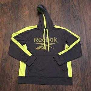 Reebok Mens Gray Yellow Hoodie Sweatshirt S